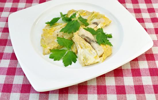 メカジキと白ねぎの卵とじ